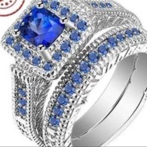 Blue gemstone engagement set size 9